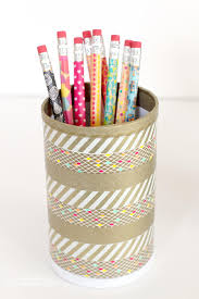 Pencil Holders For Desks Washi Tape Pencils And Desk Cup Happiness Is Homemade