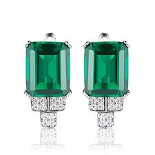emerald earrings jewelrypalace women s 6ct created nano russian emerald clip on