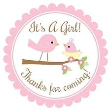 girl baby shower it s a girl baby shower labels and baby bird