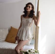 honeymoon sleepwear bridal camisole with lace f8 nightdress by apilat on