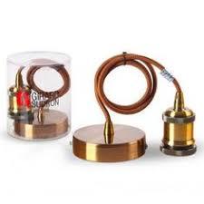 le girard sudron monture et douille lisse e27 métal cuivre câble marron 2m girard