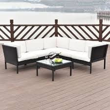 Backyard Furniture Set by Perla 6 Piece Outdoor Wood Chat Set W Cushions By Christopher