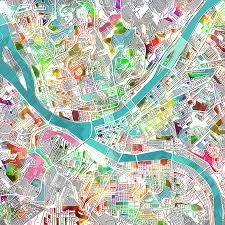 Pittsburgh Zip Code Map by Pittsburgh Map Watercolor Painting By Bekim Art
