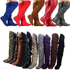 womens size 12 wide calf boots womens knee thigh high slouch suede flat boots choose size