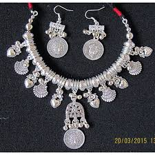 handmade silver charm necklace images Handmade necklace made of silver metal charms and beads JPG