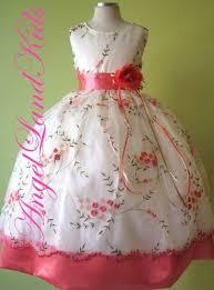 Flower Girls Dresses For Less - afforable coral peach polka dot toddler flower dress for less