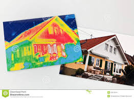 energy saving house energy saving house with thermal imaging camera stock photo