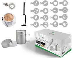 hlix cafe 20pcs set with portable milk frother cocktail mixer