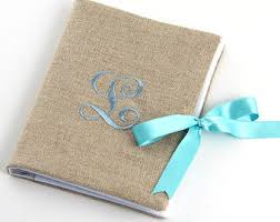 monogrammed photo album linen photo album etsy