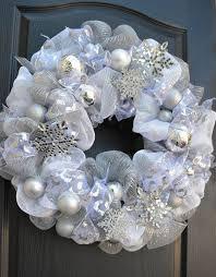 white wreath silver snowflakes wreath deco mesh wreath