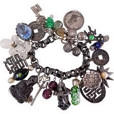 themed charm bracelet vintage asian theme buddha silver tone glass charm