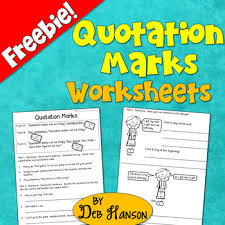 quotation marks worksheet freebie by deb hanson tpt