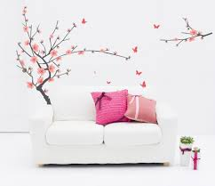 online get cheap spring blossom wall decal aliexpress com 2017 new red cherry plum flower tree wall stickers decals spring blossom branches wallpaper home bedroom living room decor