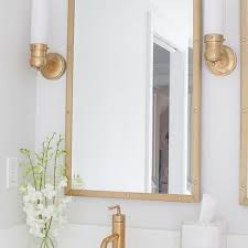 Brass Bathroom Lights Gold Rivet Mirror With White Washstand Cottage Bathroom