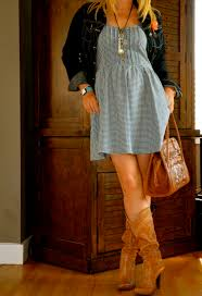 blue dress and cowboy boots cute for my nashville trip