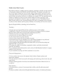 Math Teacher Resume Sample by Middle Math Teacher Resume Free Resume Example And