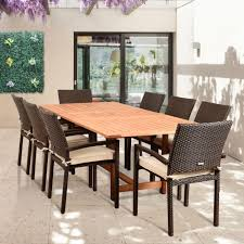 hanover monaco 9 piece aluminum outdoor dining set with square knight 9 piece teak wicker rectangular outdoor dining set with off white cushions