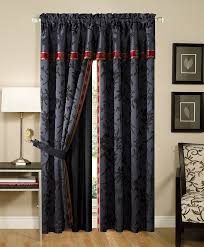 Black Floral Curtains Chezmoi Collection 4 Palace Jacquard Window
