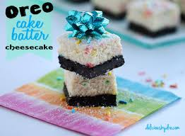 oreo cake batter cheesecake bars healthy version delicious dre