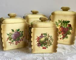 square kitchen canisters vintage ceramic kitchen canisters etsy