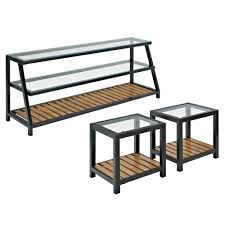 Glass And Wood Coffee Tables by Amazon Com Glass Metal Wood Tv Stand And Coffee Table Combo