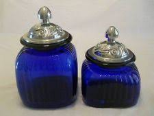 cobalt blue kitchen canisters cobalt blue glass side cl canisters set of four descending