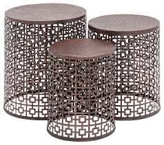 Metal Drum Accent Table Squares Copper Metal Accent Tables Set Of 3 Transitional