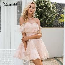 aliexpress com buy simplee off shoulder flower mesh summer dress