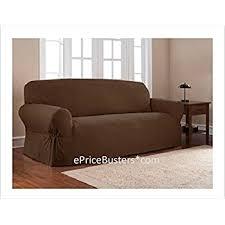 Mainstays Sofa Bed Amazon Com Mainstays 1 Piece Sofa Slipcover Color Costa Brown