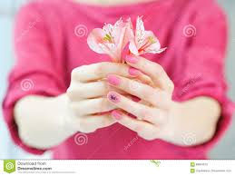 hands with pink color nails manicure stock photo image 89954670