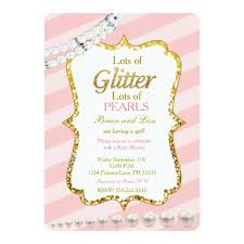 pink and gold baby shower invitations pink gold glitter pearls baby shower invites zazzle