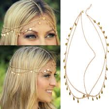 headpieces online womens boho gold tone chain fringe tassel band headpiece hair