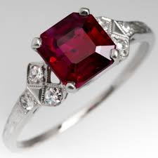 stunning art deco ruby ring w diamonds in engraved platinum