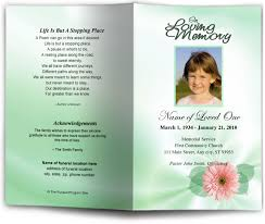 baby funeral program children youth baby blossom letter single fold program template