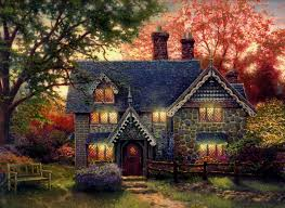 kinkade gingerbread cottage painting