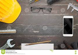 Site Table by Construction Site Table With Free Space For Text Stock Photo