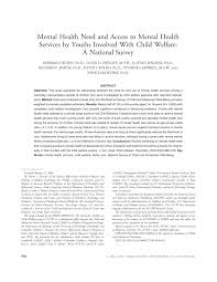 mental health need and access to mental health services by youths