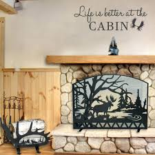 fireplace inserts wood cabin collection moose log rack screen and