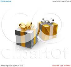 clipart illustration of two unopened christmas gifts wrapped in