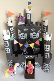 cardboard castle craft made from stuff around the house shoebox