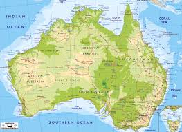 Italy Physical Map by Large Detailed Physical Map Of Australia Australia Large Detailed