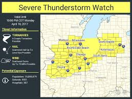 Southeast Wisconsin Map by Severe Thunderstorm Watch Issued For South Central Southeast