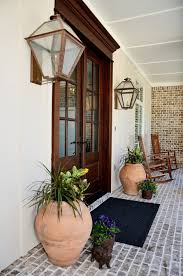 Entryway Sconces Brick Stoop Exterior Modern With Awning Wicker Rattan Outdoor Side