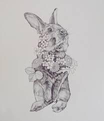 vrolijk pasen easter bunny drawing oldie rabbit daffodil