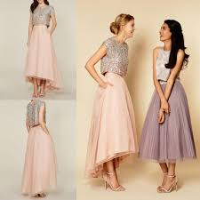 high low bridesmaid dresses 2016 tutu skirt dresses sparkly two pieces sequins top