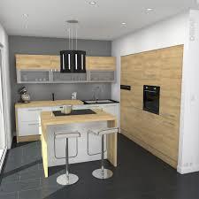 implantation type cuisine ilot central bar cuisine cuisine blanche et bois design et
