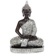 large thai silver finish sitting buddha ornament statue h34cm