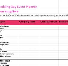 Wedding Day Planner Excel Templates Free Excel Templates