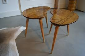 kidney bean shaped table kidney bean shaped coffee table set of 2 by woodandvintage on etsy