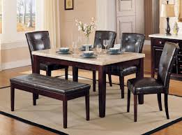 affordable marble dining table for 4 brown leather dining chairs